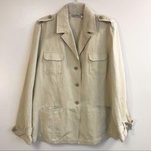 Chico's 3 tan jacket silk blend 3 button blazer